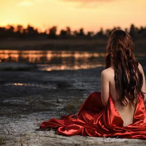 Sunset by Michal Challa Viljoen - Nudes & Boudoir Artistic Nude ( real, wow, sexy, model, sky, gorgeous, color, innocent, beauty, hair, sun, photography, golden hour )