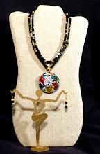 Photo: #144 - copper enamel pendant, onyx, malachite, 14K gold vermeil $110/set SOLD