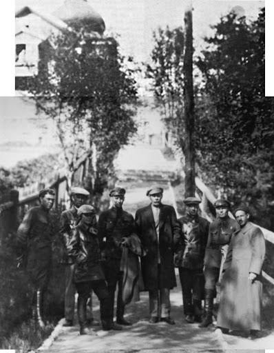 Maxim Gorky visiting Solovki. To his right stands leading NKVD officer Gleb Boky