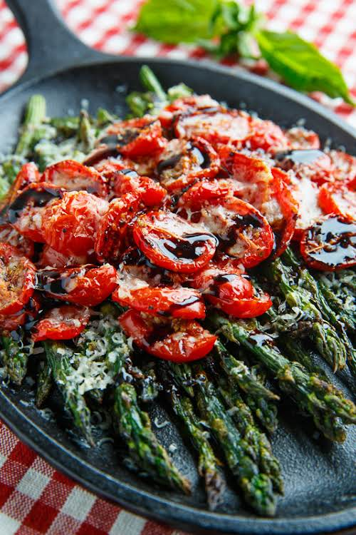 "Balsamic Parmesan Roasted Asparagus and Tomatoes ""Roasting the asparagus really brings out..."