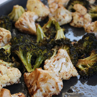 Balsamic and Honey Roasted Broccoli and Cauliflower