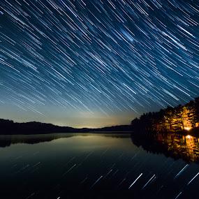 Night Rain by Derek Kind - Landscapes Starscapes ( water, frontenac, startrail, canada, stars, star, trees, ontario, lake, landscape, campfire, startrails )