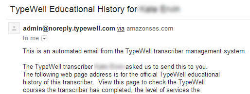 screenshot of automated email from TypeWell