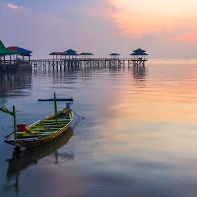 The boat and the jetty part 2 by Robertho Ponomban - Landscapes Sunsets & Sunrises ( blue, beach, sunrise, jetty, landscape )
