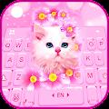 Pink Flowers Kitten Keyboard Theme APK