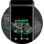Dark green cartoon hand-drawn racing car theme APK icon