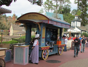 Photo: As part of the Fantasyland bathroom addition, Mme Leota's merchandise cart has been moved further into the middle of Liberty Square.