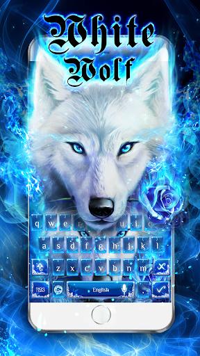 Blue Fire Wolf Keyboard Theme 10001009 screenshots 2
