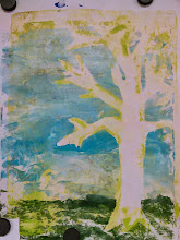 "Photo: Spring Days monoprint art - 10""x8"", framed and matted 15.5""x12.5"" $175"