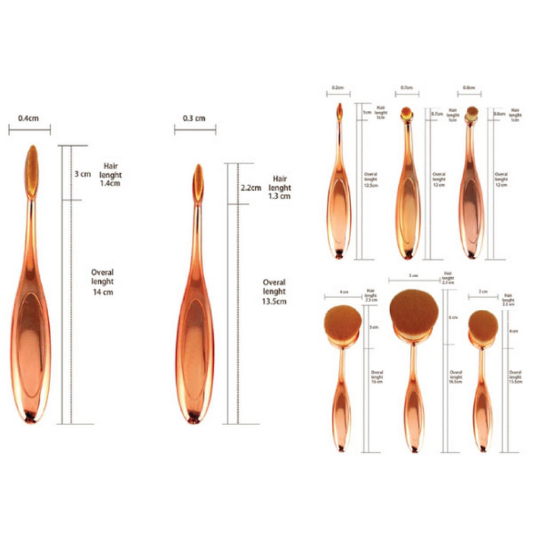 10 Pcs Toothbrush Shaped Oval Makeup Brushes Mermaid brush Eyeshadow Brush Set (With box) ROSE GOLD