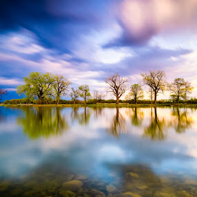Spring at Lake Manawa by Matt Workman - Landscapes Waterscapes ( reflection, clouds, long exposure, trees, landscape )