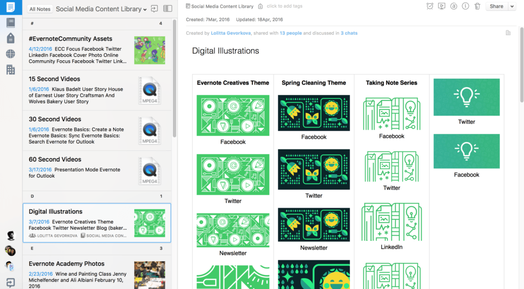 evernote is a great tool for designing and planning your social media