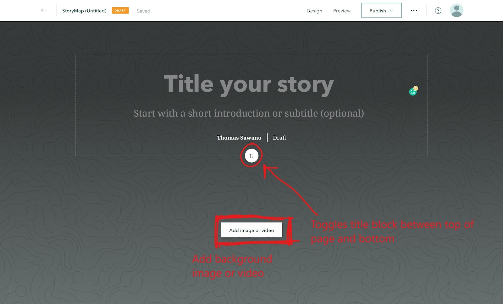 Title of your story page, with a button to add images