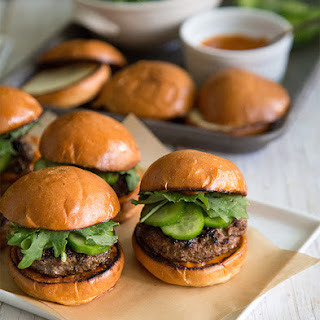Asian Sliders with Gochujang Mayo and Quick Pickles