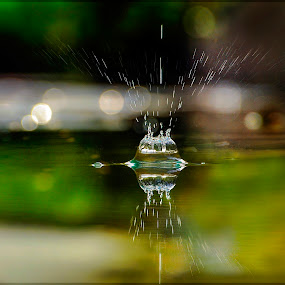 Perfect Symmetry -  Flowing Crystals by Kartik Wat - Abstract Water Drops & Splashes ( crystals, abstract, water drops, reflection, splash, symmetry )
