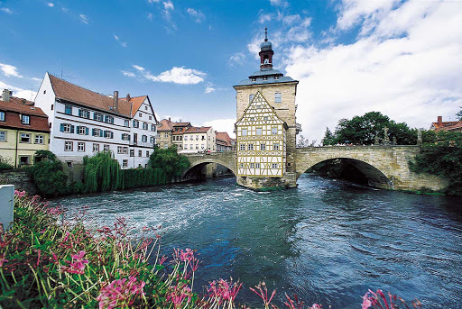Viking-Freya-Bamberg-bridge - Old City Hall in Bamberg, Germany, is located on the river Regnitz near its confluence with the River Main.