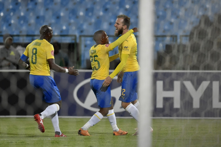 Mamelodi Sundowns striker Jeremy Brockie celebrates his first official goal for the club after scoring in a 3-1 Absa Premiership home win over Free State Stars at Lofts Versfeld in Pretoria on November 7, 2018.