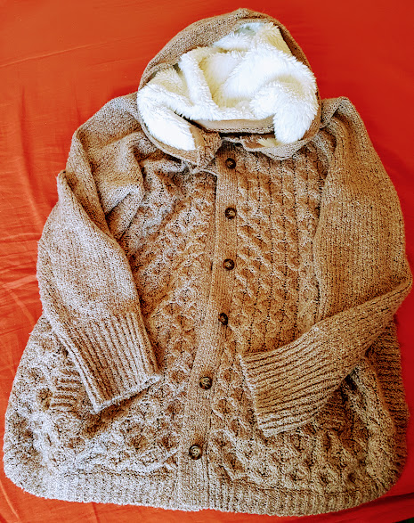 Photo of cardigan with fleece hood