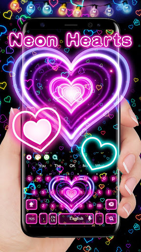 3D Neon Hearts Keyboard 10001004 screenshots 1