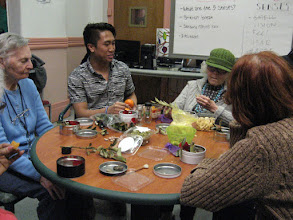 Photo: Five Senses Occupational Therapy Session with interns Liana and Lance  For the sense of taste, members enjoyed a treat of dry apricots, banana chips and oranges. They also created the sensory nature boxes for keepsake. They selected a variety of items, like rose petals, cinnamon sticks, even orange peels to put in the boxes.