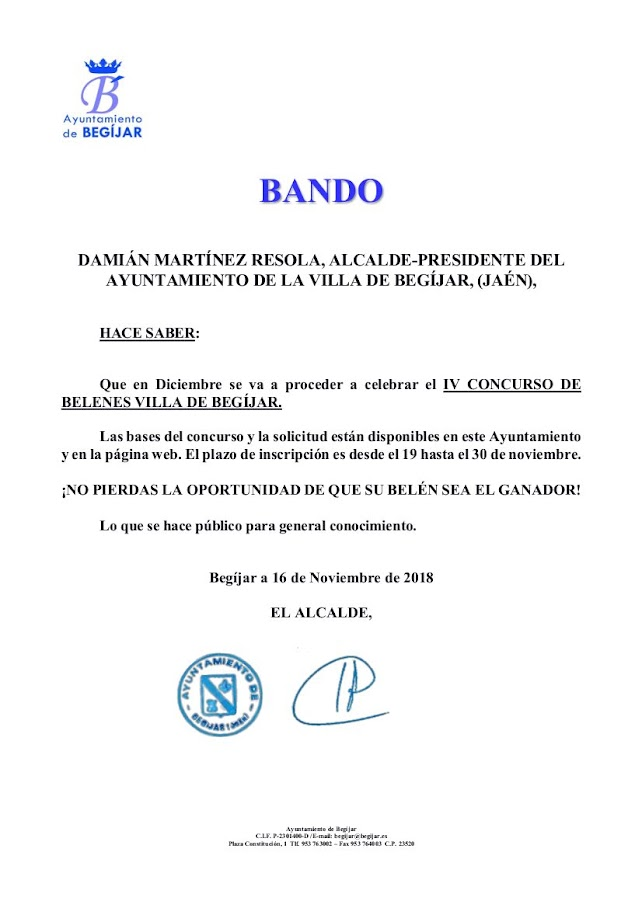 Bando Concurso Belenes 2018