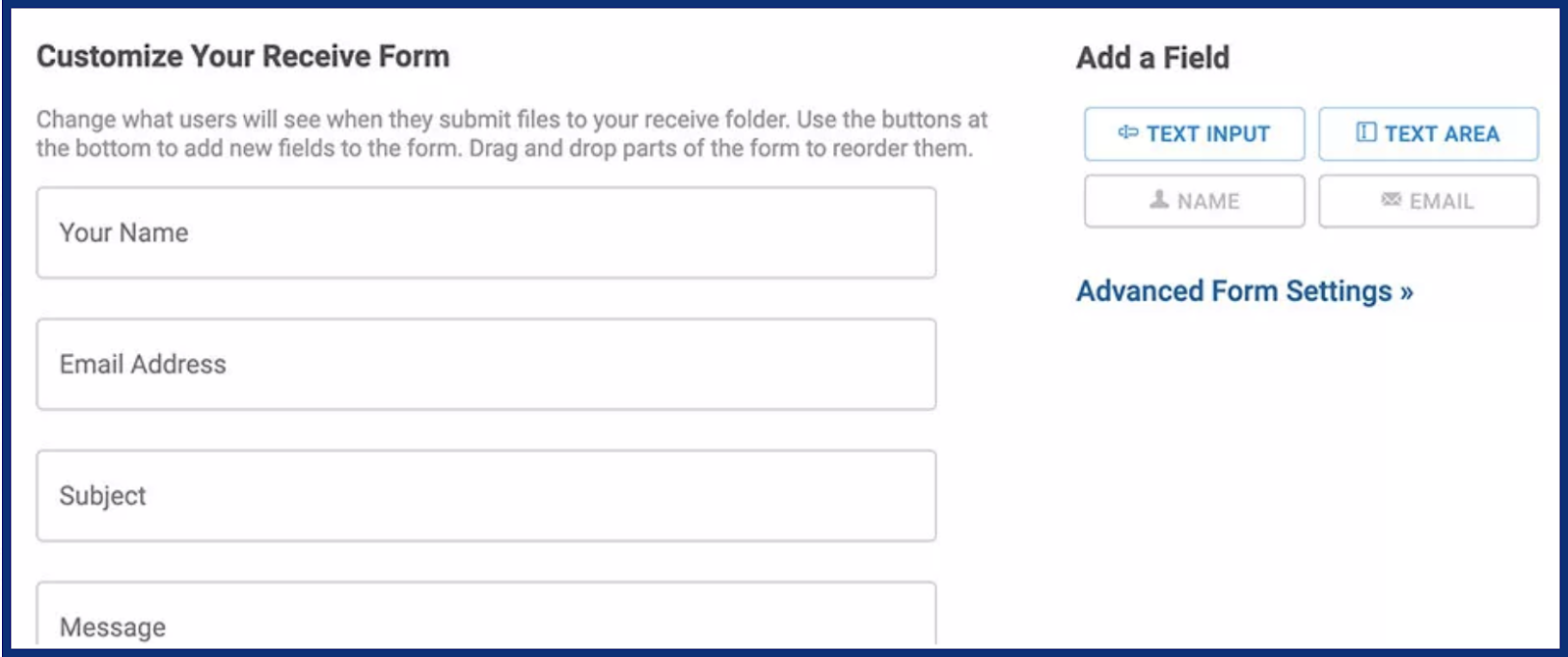 Customize your receive form