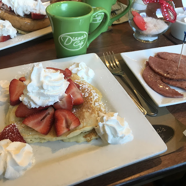 The gluten-free pancakes with strawberries and whip cream and a side of pork roll. Delicious!
