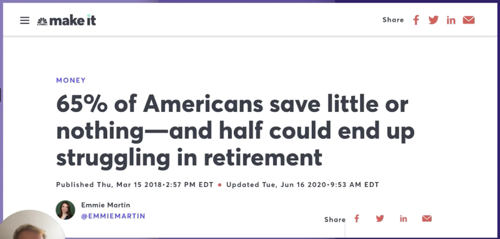 Research has shown 65% of Americans save little, with roughly 50% potentially setting themselves up to struggle in retirement.