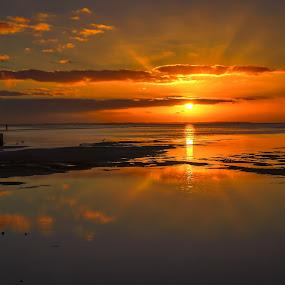 Golden Light by Keith Walmsley - Landscapes Sunsets & Sunrises ( water, clouds, sunset, australia, victoria, landscape, goldenhour )
