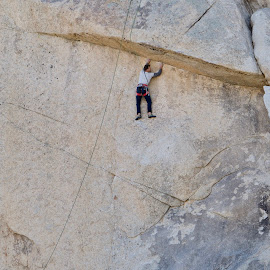 Under the overhang by Dennis Rathbun - Sports & Fitness Climbing ( climb, tenacious, granite, sheer, hard, joshua tree n.p. )