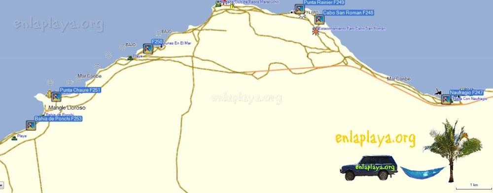 Mapa de Playas del Sector Cabo San Roman