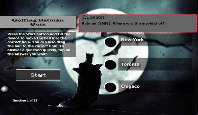 Batman Golfing Quiz - screenshot