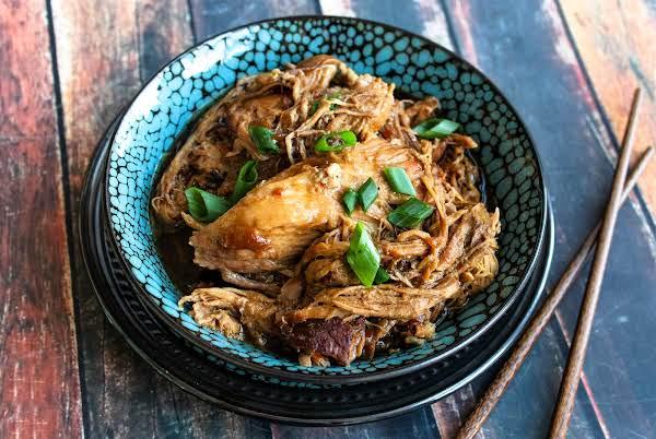 Shredded Chinese Braised Pork In A Bowl.