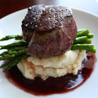Filet Mignon with Red Wine Pan Sauce + Roasted Asparagus + Garlic Mashed Potatoes