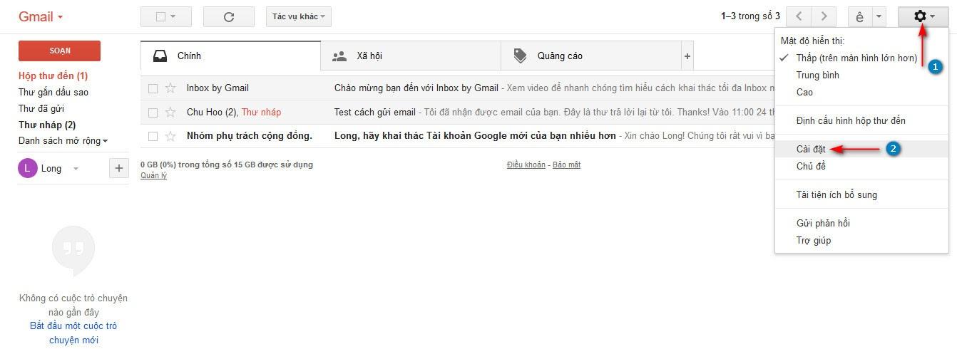 Thiết lập tài khoản gmail