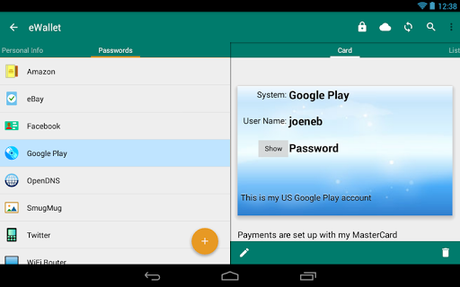 Screenshot for eWallet - Password Manager in United States Play Store