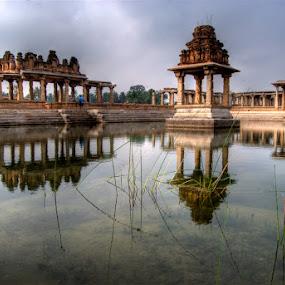 Hampi Reflected by Aparajita Saha - Buildings & Architecture Public & Historical ( temple, reflection, hampi, 12th cent. ad, ancient architecture )