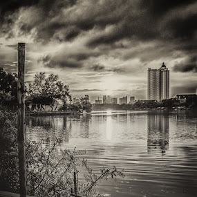 Town lake @Sunter lake-Jakarta, Indonesia by Frederiko Ferry - Landscapes Waterscapes ( monochrome, black and white, sunset, lake, town, waterscapes, city, b and w, landscape, b&w, monotone, mono-tone )