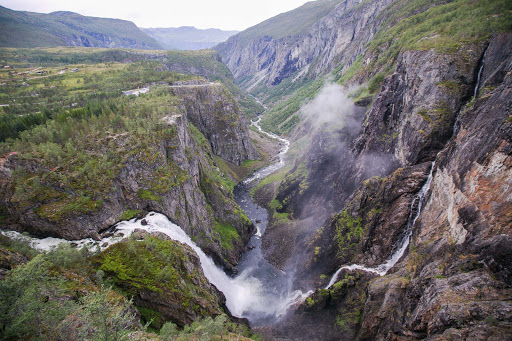 Stunning Voringsfossen is Norway's most famous waterfall. It has a free fall of 475 feet and a total drop of 600 feet.