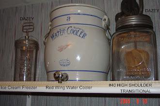 Photo: DAZEY - Ice Cream Freezer 3 Gal. Red Wing Water Cooler DAZEY #40 High Shoulder/Round Label ((( Transitional ))) Mfd. 1912