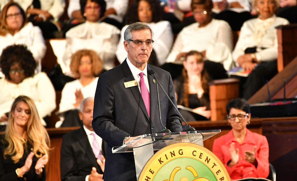 Brad Raffensperger, Georgia Secretary of State speaks onstage during 2020 Martin Luther King, Jr. Commemorative Service at Ebenezer Baptist Church on January 20, 2020 in Atlanta, Georgia. In the Washington Post correction, Raffensperger confirmed Trump had made the call to Watson but did not correct the publication on the details of her call.