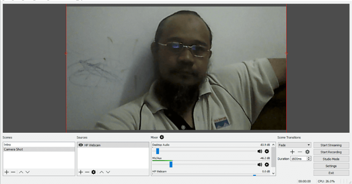 OBS Studio Web Cam Feed Ready