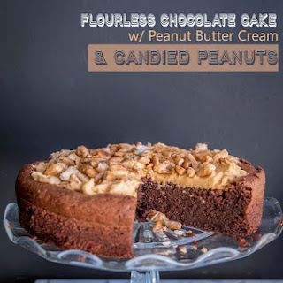 Flourless Chocolate Cake with Peanut Butter Cream and Candied Peanuts - Gluten Free.