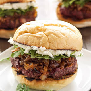 Bacon Burgers with Bourbon Caramelized Onions and Goat Cheese.