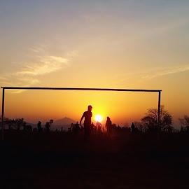 Football sunrise by Bishal Ranamagar - Sports & Fitness American and Canadian football ( football, palpa, sunrise, nepal, soccer )