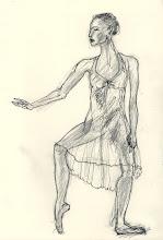 "Photo: Dancer -sketch, 21cm x 29cm, 8"" x 11.5"", 2012, graphite, India and acrylic inks, Moleskine folio Sketchbook A4."