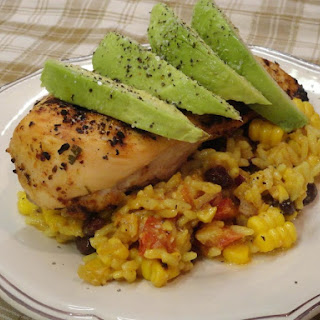 Cliantro Lime Grilled Chicken Breast with Southwest Yellow Rice Salad.
