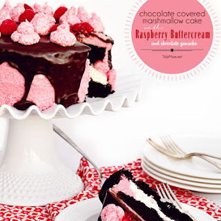 Dark Chocolate Marshmallow Cake with Raspberry Buttercream