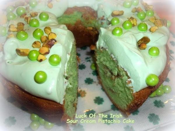 ~ Luck Of The Irish Sour Cream Pistachio Cake ~ Recipe