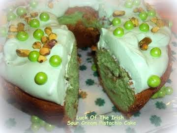 ~ Luck Of The Irish Sour Cream Pistachio Cake ~
